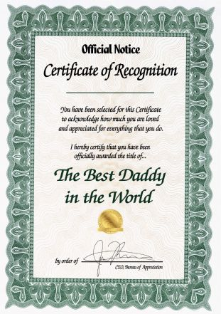 The Best Daddy / Grandad in the World Certificate